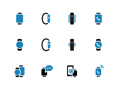Smartphone with smart watch duotone icons on white background. Vector illustration.