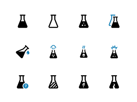 Experiment flask duotone icons on white background. Vector illustration. Stock Illustratie