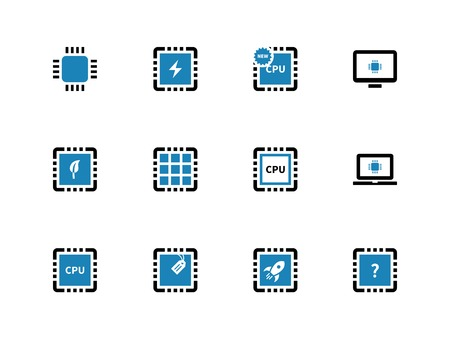 chipset: Computer microchip CPU duotone icons on white background. Vector illustration.