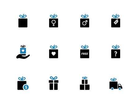 Gift box duotone iconen. Vakantie presenteert. Vector illustratie.