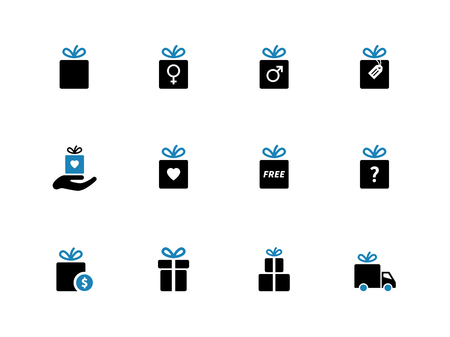 gift icon: Gift box duotone icons. Holiday presents. Vector illustration.