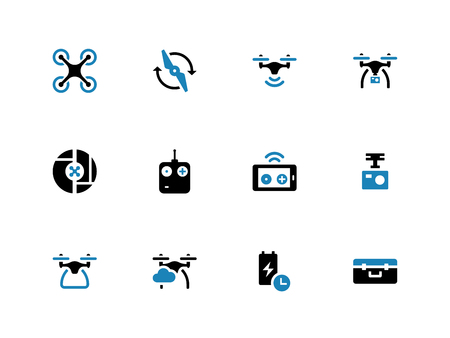 spy camera: Drone with camera duotone icons on white background. Vector illustration.