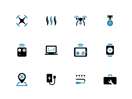 duotone: Quadcopter duotone icons on white background. Vector illustration. Illustration