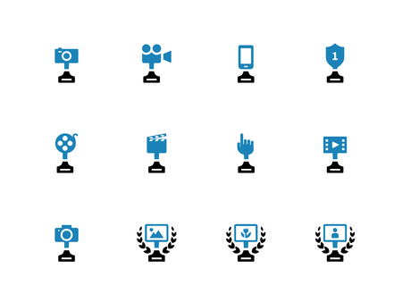 duotone: Awards duotone icons on white background. Vector illustration.