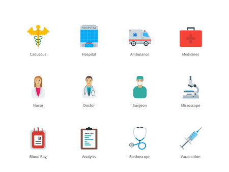 ambulance: Pictogram collection of Hospital and Healthcare, Pharmacy, Medicine with Nurse, Doctor, Surgeon, Ambulance, Microscope for Hospital website and Analysis center. Flat color icons set. Isolated on white background.