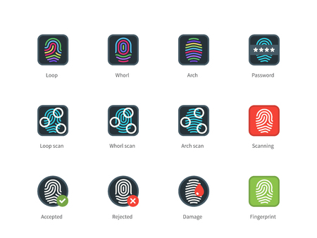 detection: Pictogram collection of Fingerprint and Scanning, Loop, Whorl, Arch types, for ID detection devices and Security apps. Flat color icons set. Isolated on white background. Illustration