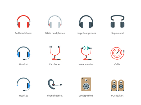 loud   speakers: Modern headphones vector color icons set. Music and technology items. Multimedia and technology concept, headphones, headset, earphones, cable, pc and loud speakers. Isolated on white background