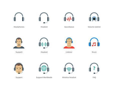 listener: Pictogram collection of Headphones and Support, Headset, Sound wave, Volume control and Listener for Website Call-centre and Support center. Flat color icons set. Isolated on white background.