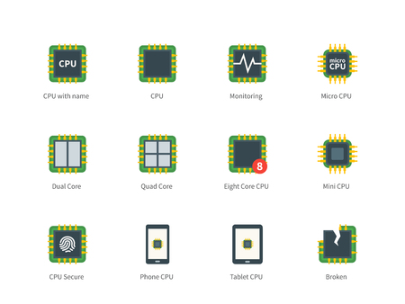 processors: Pictogram collection of Modern Computer Processor and Multi Core Processors, Eco, Broken CPU for Repair Service and Computer Shop. Flat color icons set. Isolated on white background. Illustration