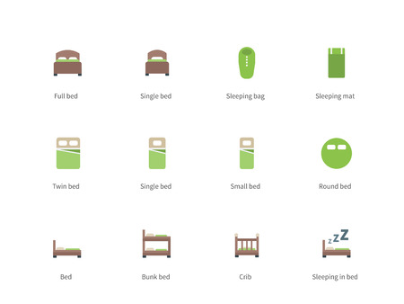 letto a castello: Pictogram collection of Double and Single Bed, Sleeping Bag, Mat, Bunk Bed and Crib for Shop and Hotel. Flat design style color icon set. Isolated on white background.