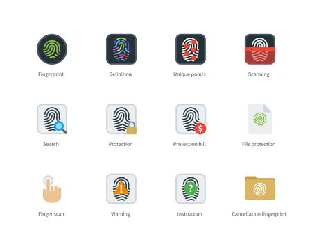 verification: Fingerprint vector color icons set. Safe access and security concept. Items for systems of protection and verification, definition, scanning, search, warning. Isolated on white background.