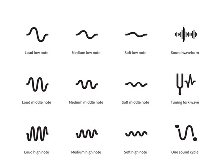 tuning fork: Sound waves set icons on white background. Vector illustration.