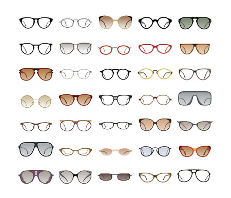 cat's eye glasses: Vector collection of Eyeglasses and Sunglasses with different frames, models, shapes and styles for website and optics store. Isolated on white background. Illustration