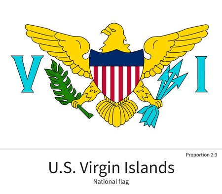 virgin islands: National flag of US Virgin Islands with correct proportions, element, colors for education books and official documentation