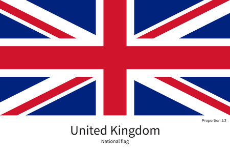 citizenship: National flag of United Kingdom with correct proportions, element, colors for education books and official documentation