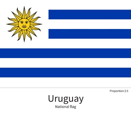 National flag of Uruguay with correct proportions, element, colors for education books and official documentation