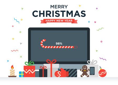 Geek Gelukkig Nieuwjaar en Kerstkaart met abstracte loading bar op Desktop computer, geschenken, snoep, kaarsen en vakantie voorwerpen