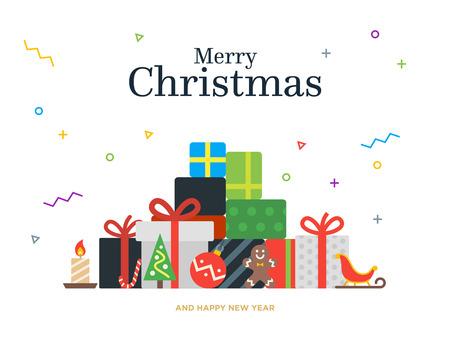 felicitaciones cumplea�os: Cajas de regalo manojo y bolas de Navidad, dulces, velas, pan de jengibre hombre. Aislado en blanco.