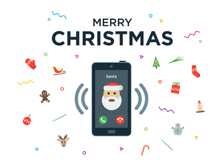 hand tree: Christmas phone call from Santa Claus with Greeting Christmas and Happy New Year lettering. Vector illustration