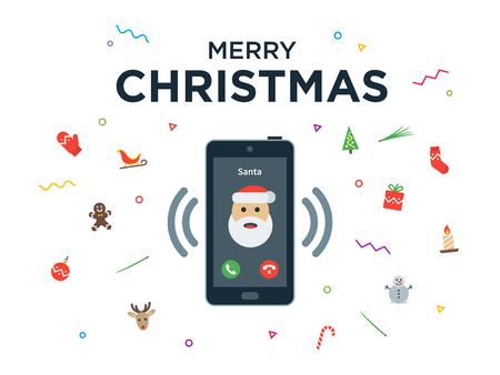 telefono caricatura: Llamada de teléfono de Navidad de Santa Claus con Tarjetas de letras Navidad y Feliz Año Nuevo. Ilustración vectorial