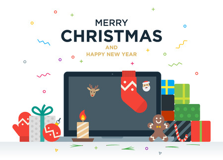 new look: Laptop with gifts, candles, red ball and Christmas socks on the screen. Christmas postcard with greeting text