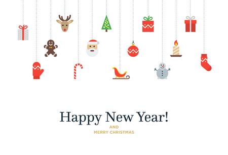 Kerst set van iconen en elementen, boom, herten, heden, kous, want en de Kerstman. Kerstkaart met Gelukkig Nieuwjaar belettering