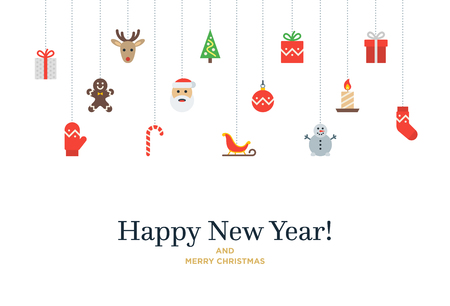 Christmas set of icons and elements, tree, deer, present, stocking, mitten and Santa.  Christmas Card with Happy New Year lettering Vettoriali