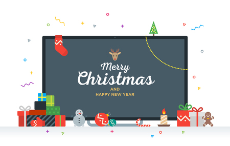 télé: Grande télévision avec le texte de félicitations Joyeux Noël et Bonne Année avec des cadeaux, cadeaux, babiole, bonbons. Carte de Noël moderne Geek Illustration