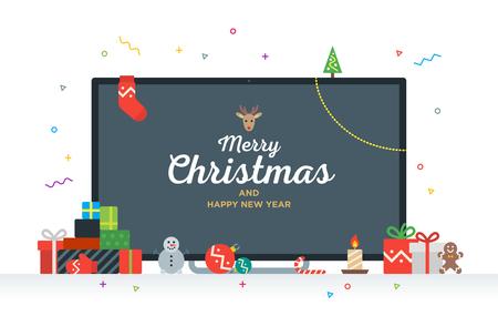 Grote TV met Felicitatie tekst Vrolijk Kerstfeest en Gelukkig Nieuwjaar met geschenken, cadeautjes, snuisterij, snoep. De moderne Kerstkaart van Geek
