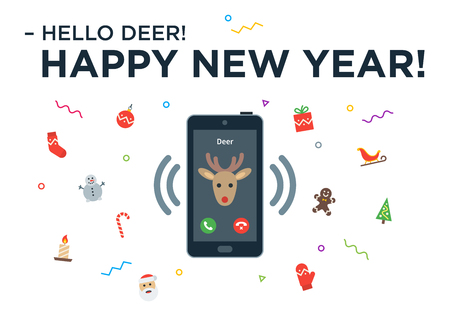 telephone call: Christmas Reindeer incoming phone call with lettering Happy New Year and design elements. Vector Christmas illustration