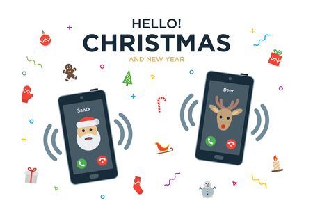 persona llamando: Tarjeta de felicitación de Navidad del vector con llamada telefónica de Papá Noel y reno