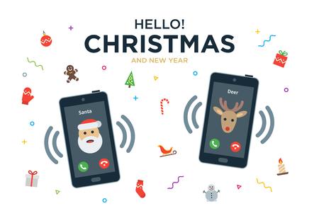 Wenskaart Vector Kerstmis met telefoongesprek van de Kerstman en rendier
