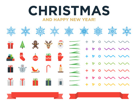 Marry Christmas and Happy New Year modern design vector elements with snowflakes, icons, pine needles, red ribbons for Christmas greeting cards, banners, websites