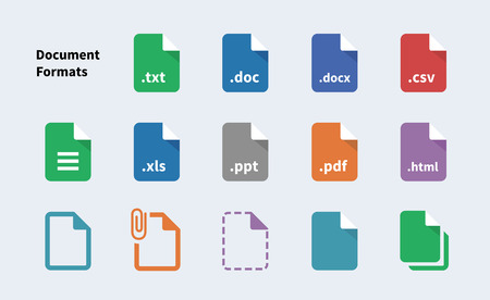 File Formats of Document icons. Isolated vector illustration. Vectores