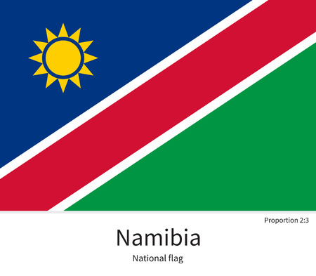 documentation: National flag of Namibia with correct proportions, element, colors for education books and official documentation