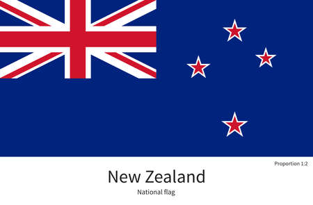 citizenship: National flag of New Zealand with correct proportions, element, colors for education books and official documentation