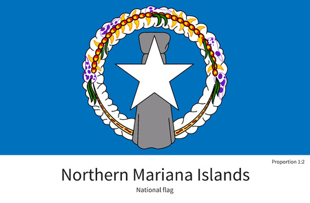 National flag of Northern Mariana Islands with correct proportions, element, colors for education books and official documentation