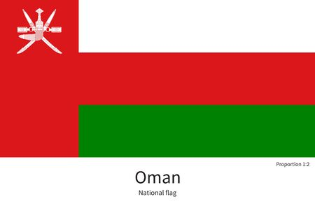 western asia: National flag of Oman with correct proportions, element, colors for education books and official documentation
