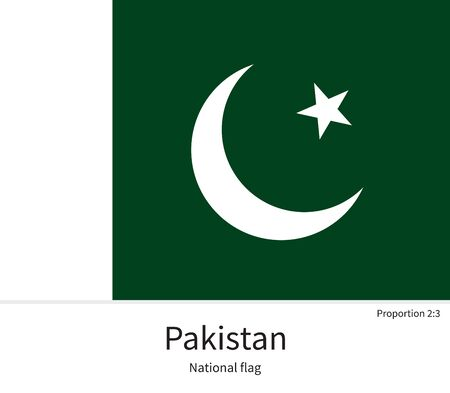 islamabad: National flag of Pakistan with correct proportions, element, colors for education books and official documentation Illustration