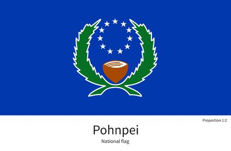 documentation: National flag of Pohnpei with correct proportions, element, colors for education books and official documentation