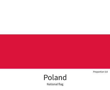 eastern europe: National flag of Poland with correct proportions, element, colors for education books and official documentation