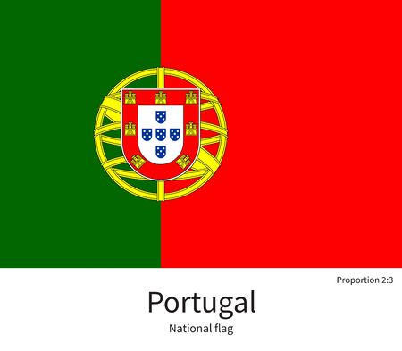 documentation: National flag of Portugal with correct proportions, element, colors for education books and official documentation Illustration