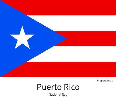 bandera de puerto rico: bandera nacional de Puerto Rico, con proporciones correctas, elemento, los colores de los libros de la educación y la documentación oficial Vectores
