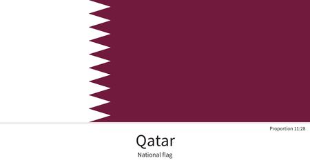 western asia: National flag of Qatar with correct proportions, element, colors for education books and official documentation