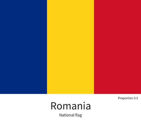 citizenship: National flag of Romania with correct proportions, element, colors for education books and official documentation