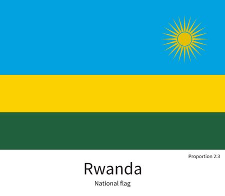 kigali: National flag of Rwanda with correct proportions, element, colors for education books and official documentation Illustration
