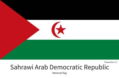 citizenship: National flag of Sahrawi Arab Democratic Republic with correct proportions, element, colors for education books and official documentation Illustration