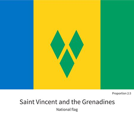 grenadines: National flag of Saint Vincent and Grenadines with correct proportions, element, colors for education books and official documentation Illustration