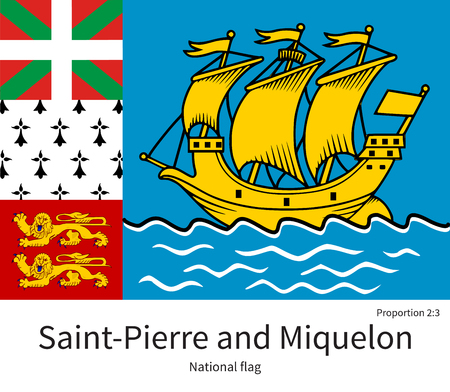 documentation: National flag of Saint-Pierre and Miquelon with correct proportions, element, colors for education books and official documentation Illustration