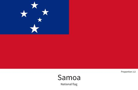documentation: National flag of Samoa with correct proportions, element, colors for education books and official documentation